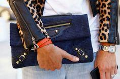 Balenciaga clutch.