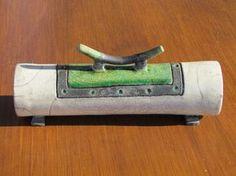 boite cylindrique raku céramique artisanal fait mains grès Jean-Pierre MEYER