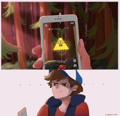 Pokemon Go crossover Gravity falls, bill cipher, dipper pines, mabel pines, standford pines, stanley pines
