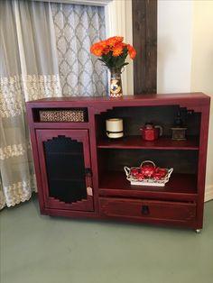 Glazed Red SW cabinet makeover