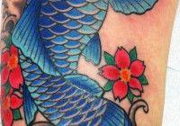 blue koi fish japanese tattoo by jeb maykut at flyrite tattoo in williamsburg, brooklyn