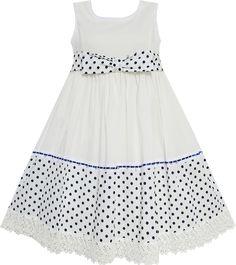 EW21 子供ドレス フォーマルドレス 入学式 水玉 ドット付き キッズドレス 蝶ネクタイ 白 105cm