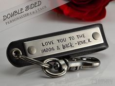 Double Sided (2 Tags) - Personalized Leather Key Chain - Mens Key Chain - BLACK LEATHER on Etsy, $41.00
