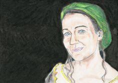 Caroline Faber as Hunith by Vanessafari - #CarolineFaber in the #BBCMerlin series, by #Vanessafari. More drawings at vanessafari.com