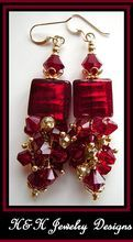 Racy Red Genuine Venetian Glass and Swarovski Crystal Earrings at H&H Jewelry Designs