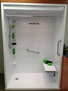 Easy Access shower by Bath Fitter Handicap Shower Stalls, Walk In Shower Enclosures, Handicap Bathroom, Ada Bathroom, Fitted Bathroom, Downstairs Bathroom, Shower Inserts, Bathroom Renovations, Bathroom Updates