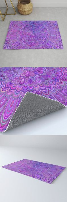 Purple Feather Magic Mandala Rug by David Zydd #MandalaRug #BestRugs #Bedroom #BohemianRoom #RoomDecor #Meditation #Decor (tags: room decoration, nature, mandala art, floral design, mandala, rug, colorful, mandala home design, floral mandala, living room decor, flora, dorm, mandala rugs, spirituality, society6)