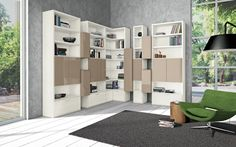 Modern Living Room Wall Units With Storage Inspiration : Living Room Bookshelves 20 Living Room Wall Units, Bookshelves In Living Room, Living Room Modern, Living Room Designs, Interior Walls, Home Interior Design, White Wooden Floor, Wall Unit Designs, Corner Wall Shelves