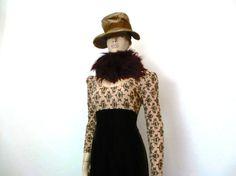 VTG 60s Lace Velvet Young  Edwardian Dress medium
