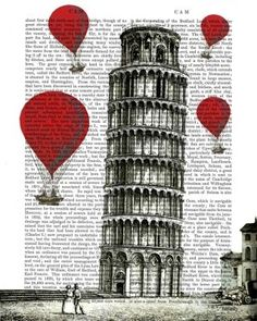 Tower of Pisa and Red Hot Air Balloons Dictionary Print