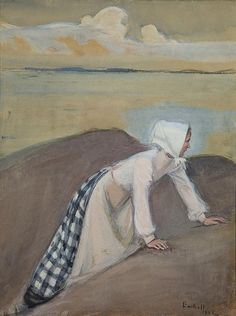 Artwork by Magnus Enckell, Woman on a Rock, 1902 Made of watercolour and mixed media Jean Delville, Stockholm, Maurice Denis, Odilon Redon, Amber Tree, Finland, Art Nouveau, Nostalgia, Watercolor