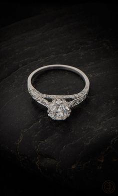 An Epic Unique Vintage Engagement Ring. Old European Cut Diamond set in handmade platinum setting. AMAZING!