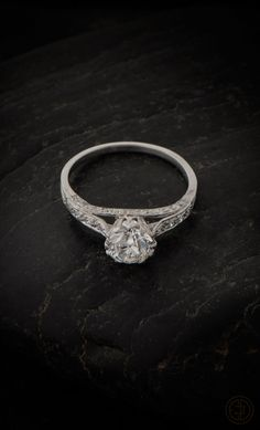 An Epic Unique Vintage Engagement Ring. Old European Cut Diamond set in handmade platinum setting. AMAZING!
