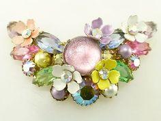 Vintage Signed Kramer Rhinestone Glass Cabochon Enamel Flower Crescent Brooch R | eBay