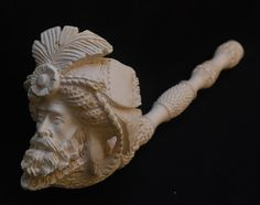 """Large Meerschaum pipe of a genie. Measures 13"""" (33.02cm) Length. Total weight 359g."""