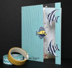 Stampin' Up! Seaside Shore and Seaside embossing folder window card by Kathleen Wingerson. Supplies and additional details available online www.kathleenstamps.com
