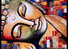 Carte de voeux de couleur comportant la peinture Bouddha endormi par Sonali Mohanty