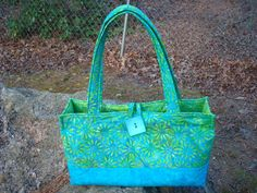 Blue and Lime Green Quilted Floral Purse by Jackiesewingstudio