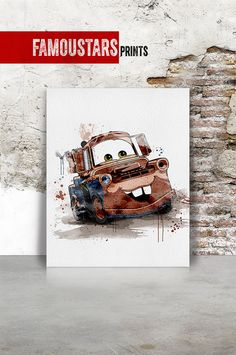 Mater tow mater Cars print Disney Pixar Watercolor by FamouStars