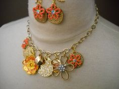 Coral Flower Necklace and Earring Set Boho by TheOmbrePoodle, $26.00