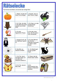 Riddles about Halloween. The students have to read the sentences and number the pictures . Then they have to write the correct word to complete the sentences. Halloween Crafts For Toddlers, Halloween Snacks, Halloween Games, Diy Halloween Decorations, Halloween 2019, Fall Halloween, Halloween Kita, Halloween Scavenger Hunt, Halloween Worksheets