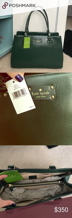 """Kate  Spade The most beautiful dark green with gold trim leather. Brand new with tags, never used! Can be a shoulder bag or elbow purse, great size 13"""" across 9"""" down 5"""" wide, make me an offer this won't last in my closet I'm sure kate spade Bags"""