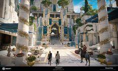 Fantasy Town, Fantasy Castle, Sci Fi Fantasy, Fantasy World, Fantasy Art Landscapes, Fantasy Landscape, Landscape Art, Fantasy Concept Art, Fantasy Artwork