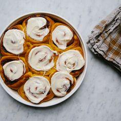 Pumpkin Cinnamon Rolls with Orange Cream Cheese Icing  recipe on Food52