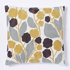 "Crewel Blossom Pillow Cover - Horseradish #westelm - 20"" - $39 (less 20% is $31.20)"