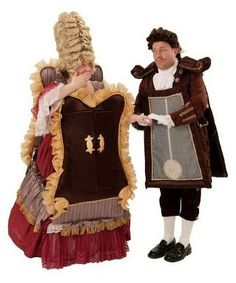 Beauty and the Beast Costume Rentals for Madame de la Grande Bouche the Wardrobe and Cogsworth the Clock - The Costumer
