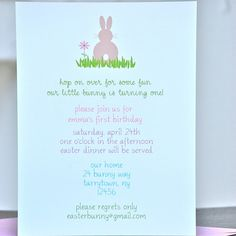 Bunny Birthday Invitations  Hop On Over by sweetbellacards on Etsy, $18.00