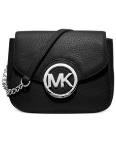 Michael Kors Fulton purse (black) Black small side bag by Michael Kors. Chain and leather strap. Black pebbled leather with gold MK magnetic closure.
