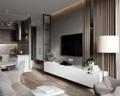 Este posibil ca imaginea să conţină: masă şi interior Living Room Tv, Living Room Interior, Home Interior Design, Home And Living, Apartment Interior, Apartment Living, Casa Milano, Küchen Design, Small Apartments