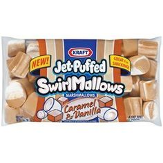 Jet-Puffed Swirl Mallows Caramel & Vanilla Marshmallows, 10 oz (I bet they're wonderful! Chocolate Spoons, Chocolate Swirl, Hot Chocolate Bars, Chocolate Flavors, Jet Puffed Marshmallows, Flavored Marshmallows, Chocolate Rice Krispies, Rice Krispie Treats, Cereal Recipes