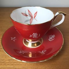H M Sutherland Vintage Tea Cup and Saucer, Red Teacup and Saucer with... ($30) ❤ liked on Polyvore featuring home, kitchen & dining, drinkware, vintage teacups, gold tea cup, gold cup, white teacup and white cups and saucers