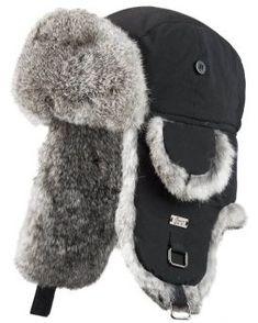 Black B-52 Aviator Hat with Grey Rabbit Fur for Men f1d20f94021d