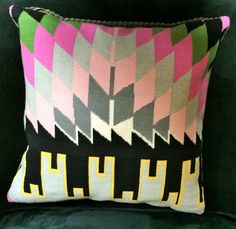 Kilim Needlepoint Kit - Pink, Green, Grey and Black - Colorful Abstract Design