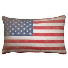 Patriotic Grunge American Flag Throw Pillow