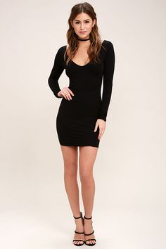 The Cheers to the Night Black Long Sleeve Dress is always ready for a good time! A backless silhouette adds appeal to this lightweight jersey knit dress with long sleeves, plunging V-neckline, and a figure-flaunting fit.