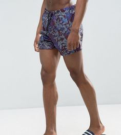 52332b13bd ASOS TALL Swim Shorts With Paisley Baroque Print In Short Length - Red