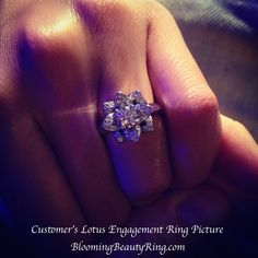I love this ring!  What a GORGEOUS picture!! Engagement Ring Pictures, Popular Engagement Rings, My Engagement Ring, Designer Engagement Rings, Vintage Engagement Rings, Customer Engagement, 3 Stone Diamond Ring, Diamond Bands, Lotus Flower Engagement Ring