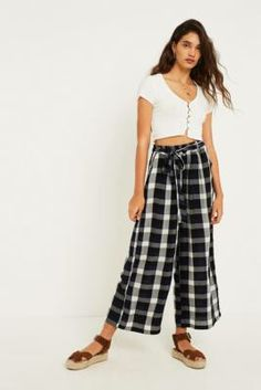 51ba453e965 Check out UO Blue and Black Check Paperbag Waist Trousers from Urban  Outfitters Paperbag Waist Trousers