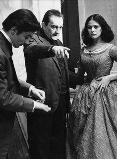 Alain Delon, Luchino Visconti e Claudia Cardinale sul set del film il Gattopardo