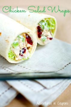 Jazz up a boring chicken salad for lunch and make these easy (and healthier!) chicken salad wraps! So tasty! | Adventures in Coupons