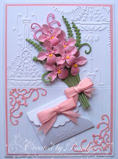 Baukje's Cards and Crafts: Paper Flowers Hand Made Greeting Cards, Making Greeting Cards, Cute Cards, Diy Cards, Handmade Cards, Pretty Cards, Wedding Shower Cards, Wedding Cards, Flower Cards