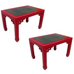 Pair of Red Lacquer Chinoiserie Side Tables