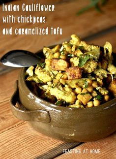 Indian Spiced Roasted Cauliflower Chickpea Salad with Caramelized Tofu