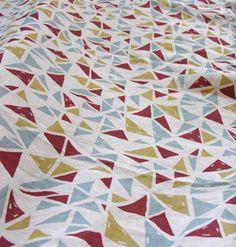 Triangles & Links - Drawing printed onto linen by Karen Gelardi