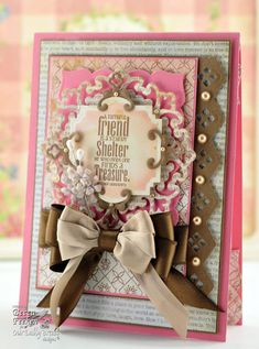 Faithful Friend by Becca of Amazing Paper Grace - love the two-tone bow and the newsprint look of the die cut