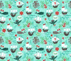 Ahoy Matey! fabric by emilydyerdesign on Spoonflower - custom fabric